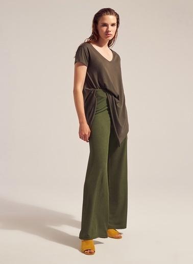 Monamoda Modal İplik Asimetrik T-Shirt Haki